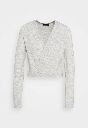 PCAMALIE CROPPED CARDIGAN  - Strickjacke - light grey melange