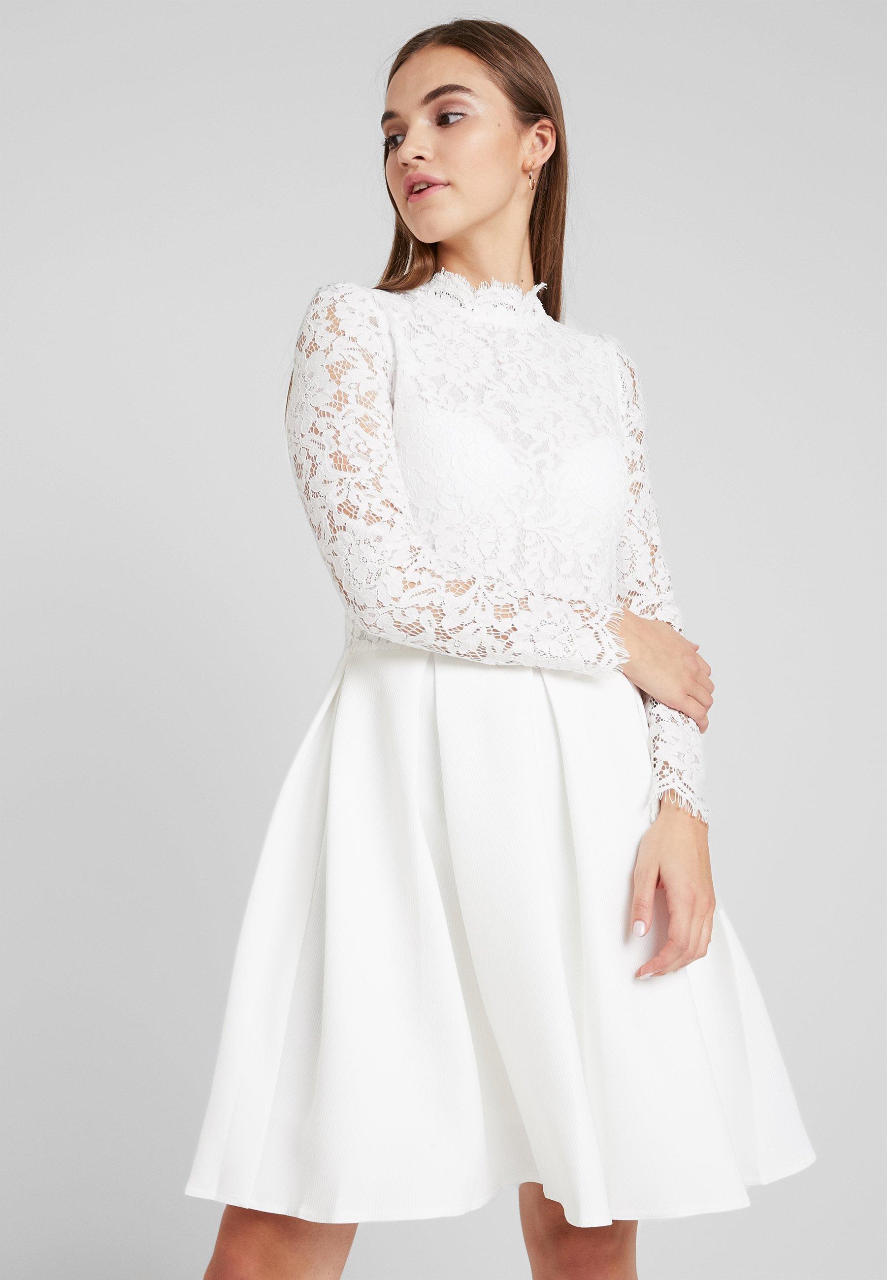 Molly Bracken Long Sleeves Cocktailkleid Festliches Kleid White Weiss Zalando De