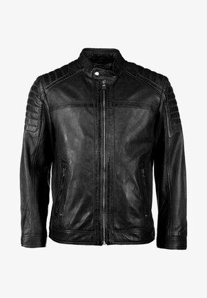 MIT HANDYTASCHE - Leather jacket - black
