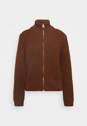 CARDIGAN  LONGSLEEVE STAND UP COLLAR ZIPPER - Kardigan - chestnut brown