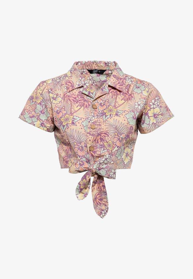 MIT HAWAIIANISCHEM MUSTER - Button-down blouse - coral