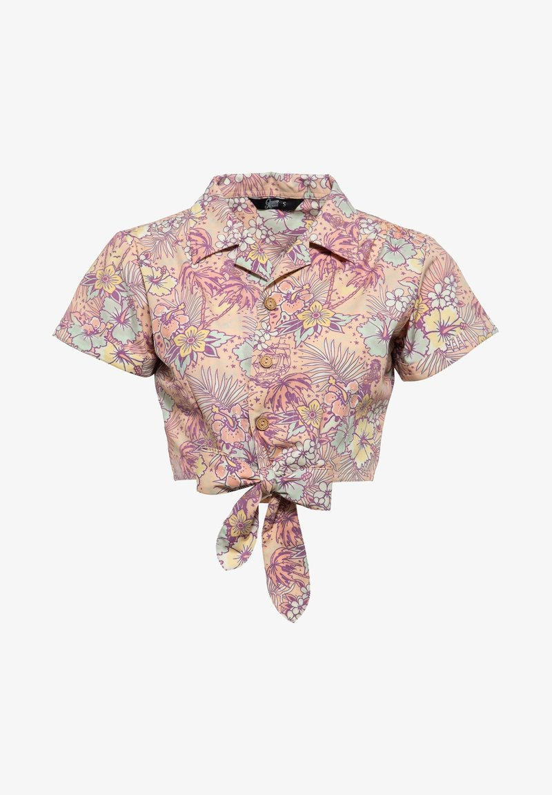 Queen Kerosin - MIT HAWAIIANISCHEM MUSTER - Button-down blouse - coral