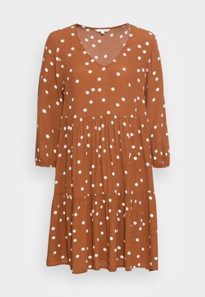 V NECK BABYDOLL DRESS - Denní šaty - brown