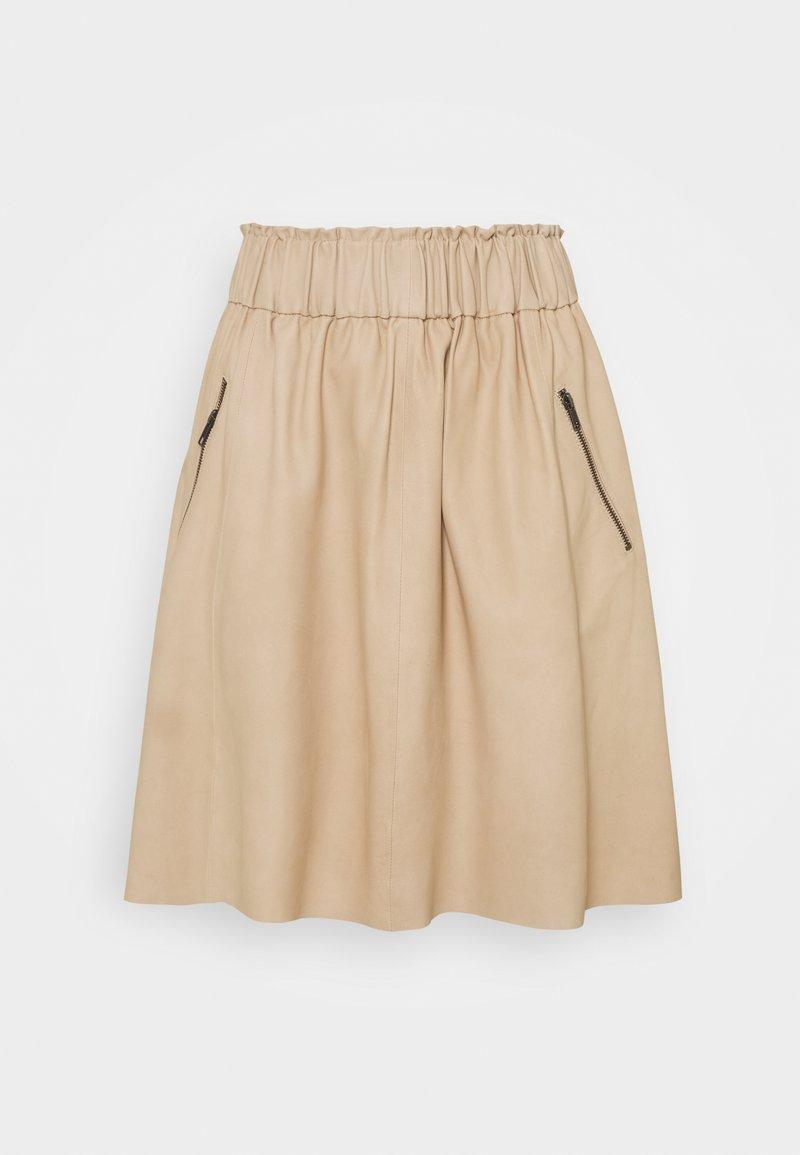 DEPECHE - SKIRT - Leather skirt - dark vanilla