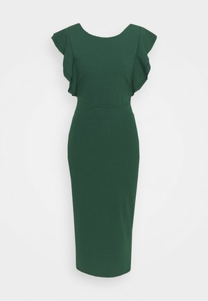 FRILL SLEEVE MIDI DRESS - Pouzdrové šaty - forest green