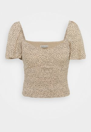 CINCH VNECK FLUTTER - Blouse - brown