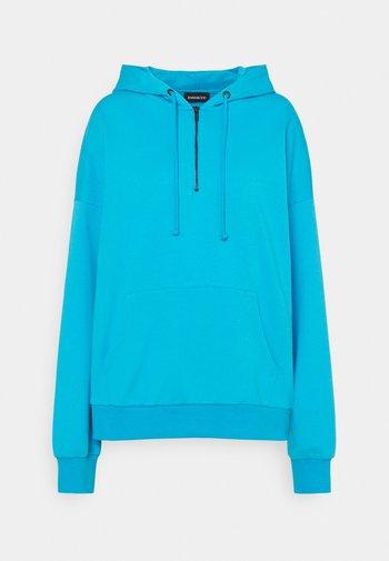 OVERSIZED HALF ZIP SWEAT  - Hoodie - blue