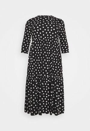 TIERED MIDI DRESS - Day dress - black