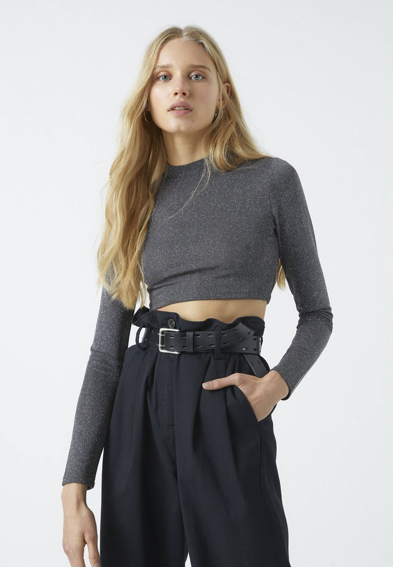 PULL&BEAR - Long sleeved top - mottled dark grey