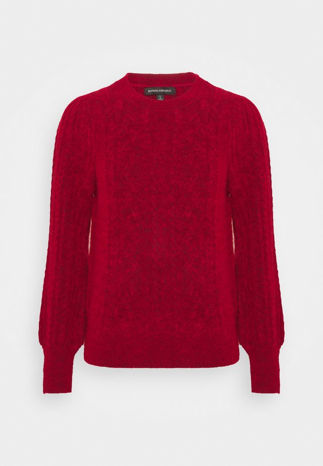 CABLEVOLUME SLEEVE - Stickad tröja - blooming red