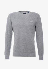 C NECK - Stickad tröja - dark grey melange