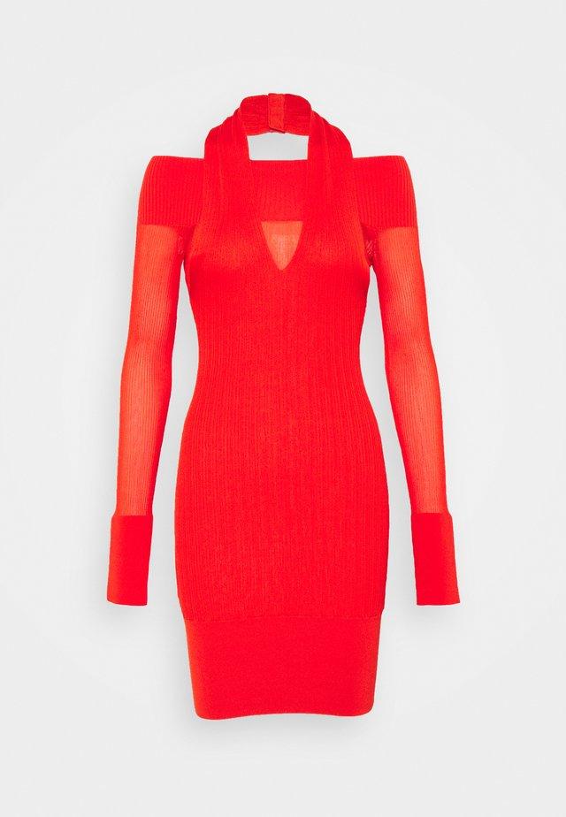 DRAPED HALTER NECK MINI DRESS - Cocktail dress / Party dress - flame