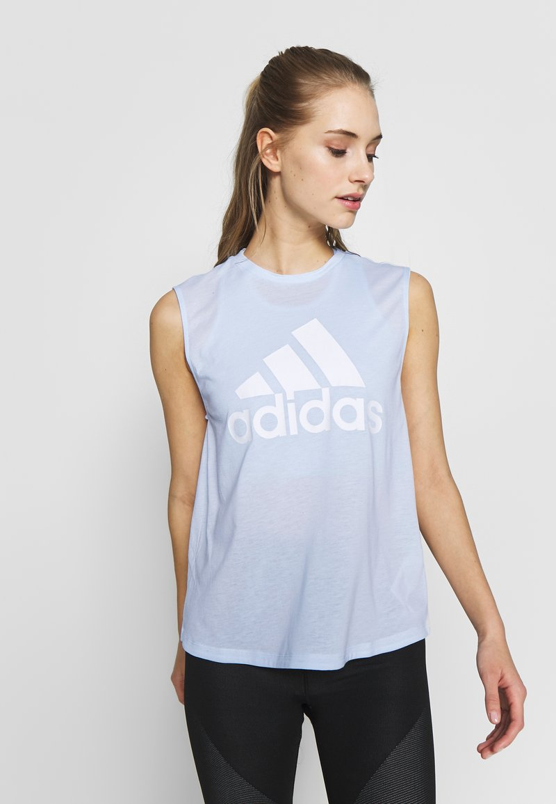 adidas Performance - MUST HAVES SPORT REGULAR FIT TANK TOP - Sports shirt - sky tint/white