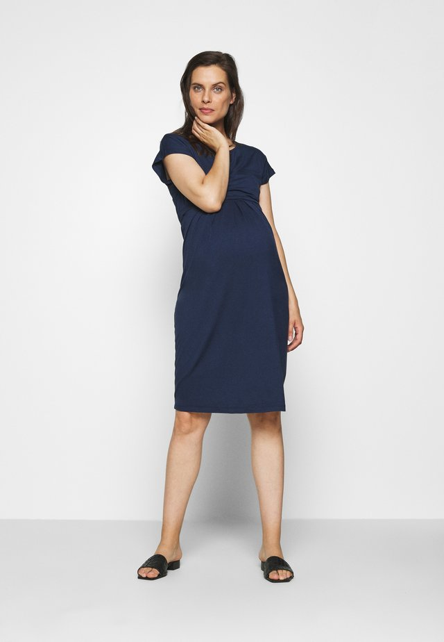 KEYHOLE PLEATED MATERNITY AND NURSING DRESS - Jerseykjole - midnight