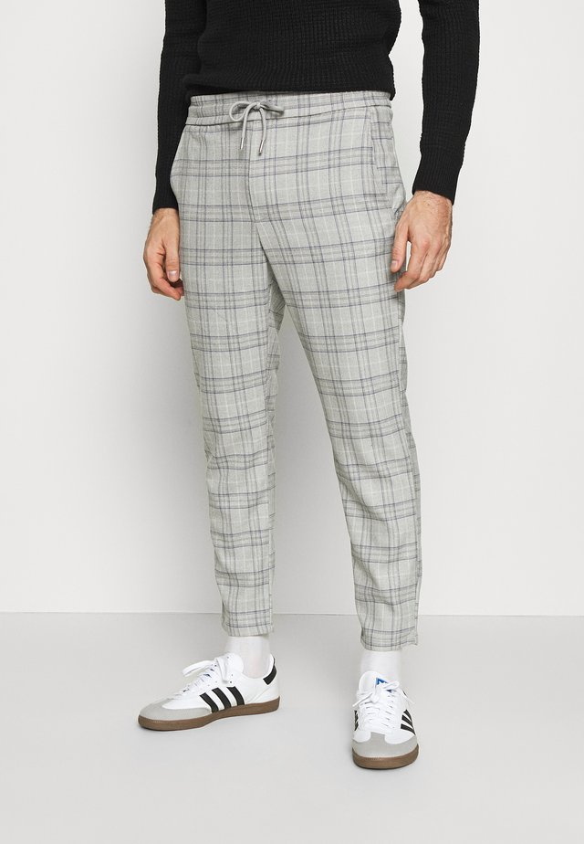 ONSLINUS CROPPED  CHECK PANT - Trousers - medium grey melange