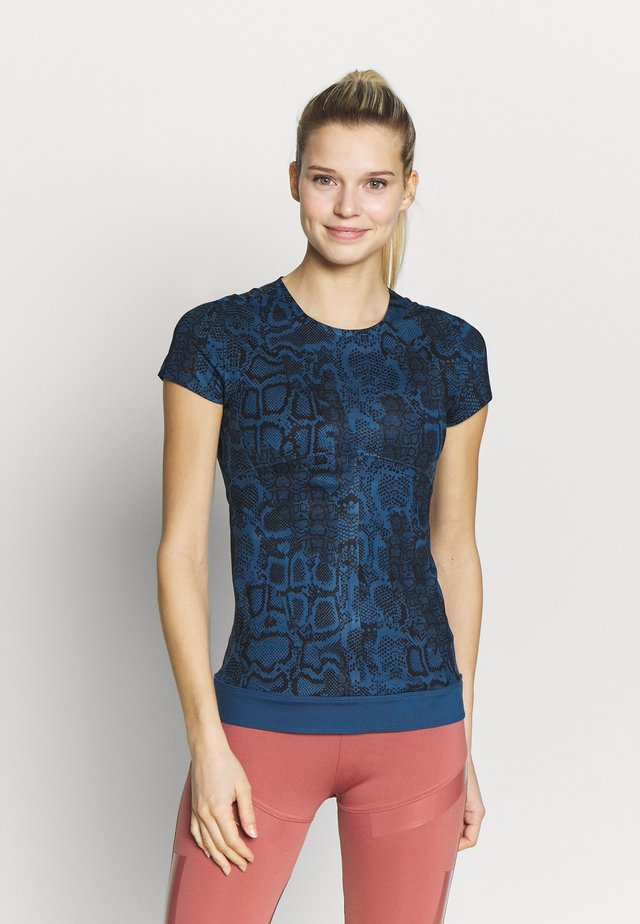 Print T-shirt - visblu