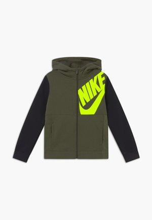 HOODIE KIDS - Zip-up hoodie - cargo khaki/black/volt