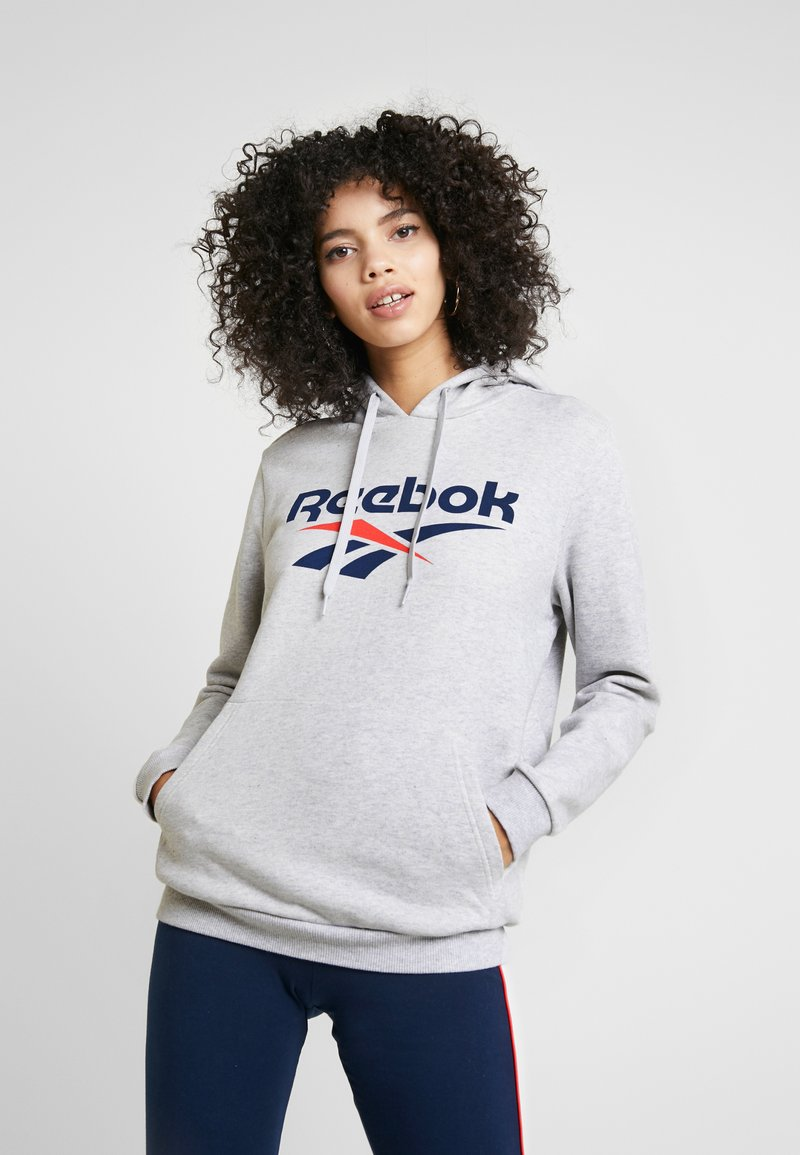 Reebok Classic - BIG LOGO HOODIE - Bluza z kapturem - light grey heather