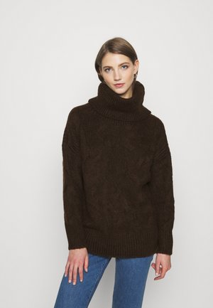 VMZEPPELIN CABLE COWLNECK BLOUSE - Jumper - chocolate plum/melange