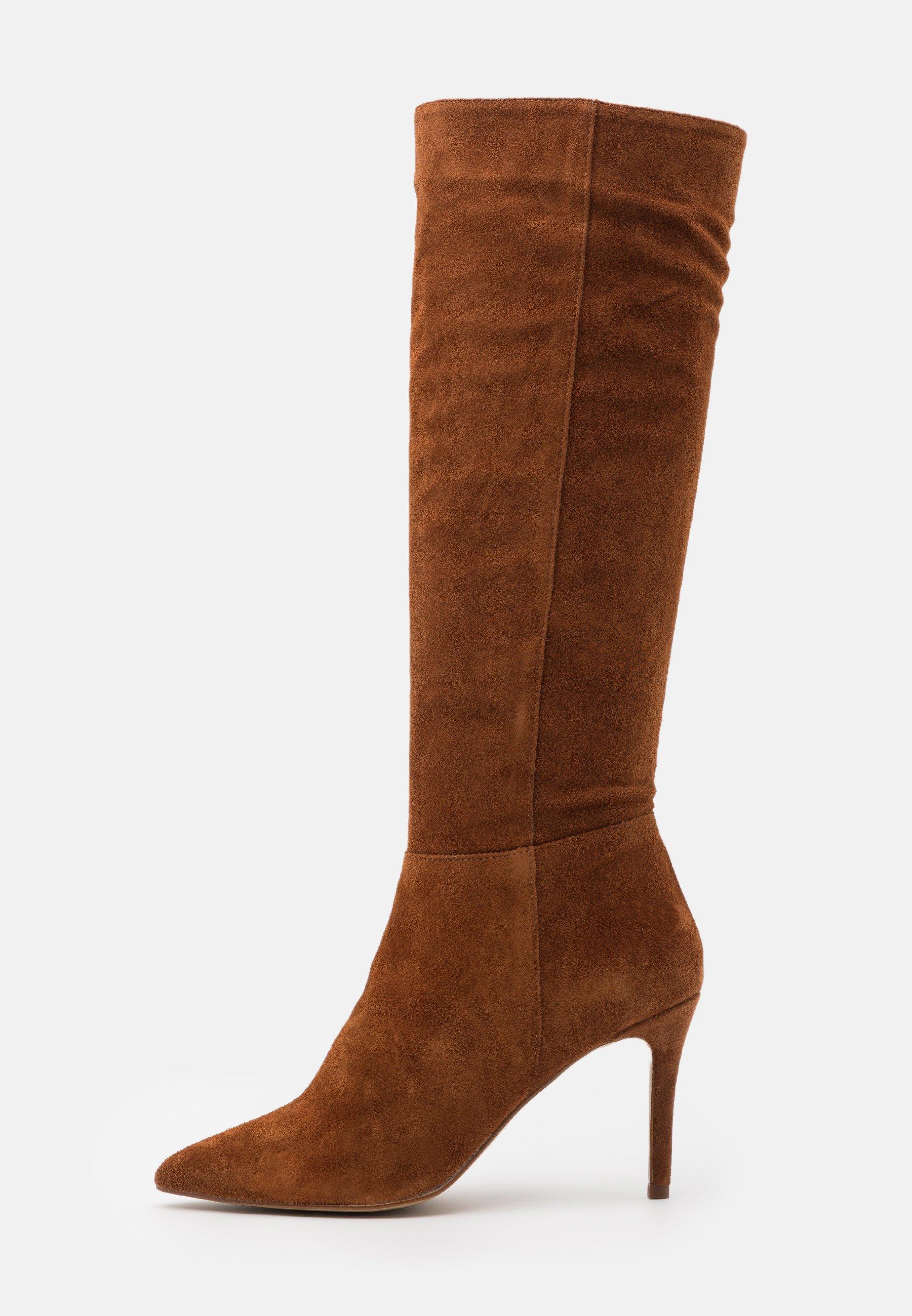 BIADANGER LONG BOOT Laarzen met hoge hak cognac