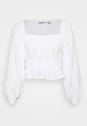 GATHERED TIE WAIST BALLOON SLEEVE - Blouse - white