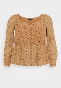 Vero Moda Curve - VMBABUSCHE BLOUSE - Blouse - black/tobacco brown dot - 4