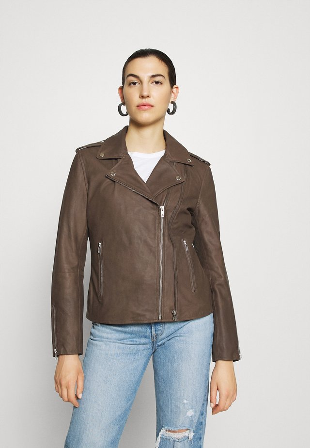 JACKET - Leather jacket - dusty taupe