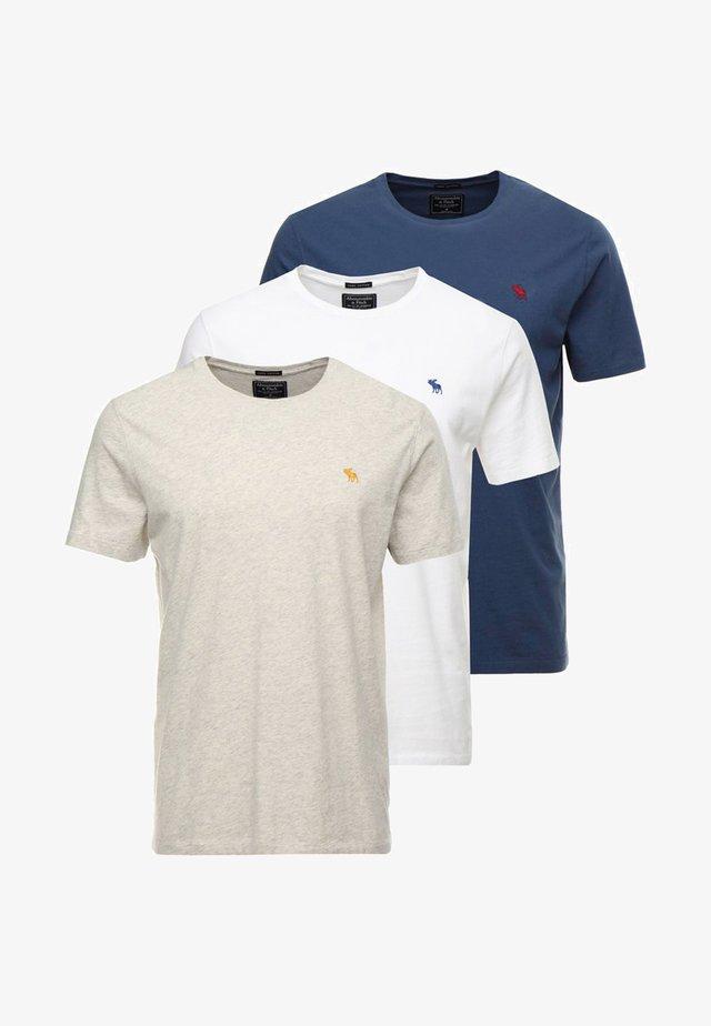 3 PACK - Basic T-shirt - blue/white/grey