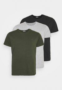 LTB - 3 PACK - Basic T-shirt - black/olive/grey melange - 0