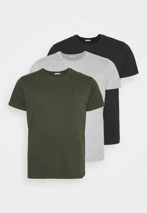 3 PACK - T-shirt - bas - black/olive/grey melange