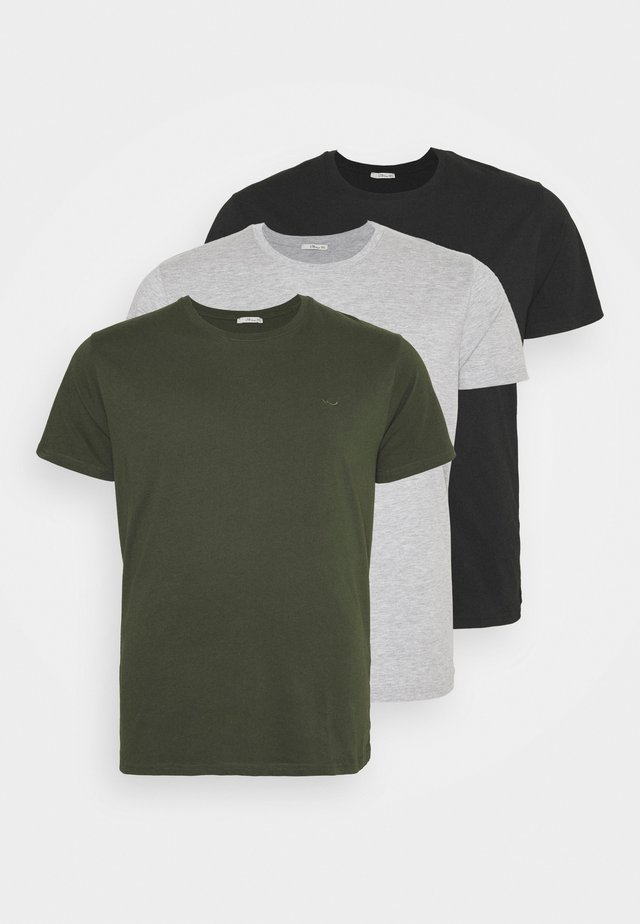3 PACK - Basic T-shirt - black/olive/grey melange