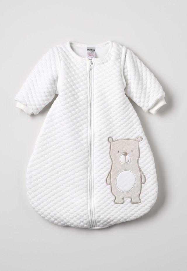 SCHLAFSACK MIT ABNEHMBAREN ÄRMELN HELLO WORLD - Baby's sleeping bag - off-white