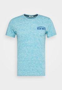 Print T-shirt - teal melange