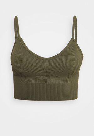 LIFESTYLE SEAMLESS V NECK CROP - Sport BH - deep moss chevron