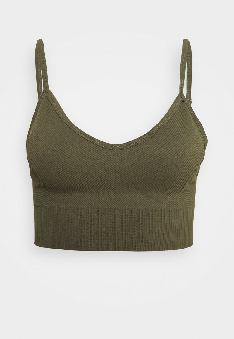 Cotton On Body - LIFESTYLE SEAMLESS V NECK CROP - Sports bra - deep moss chevron