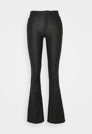 PCROXY FLARED COATED PANT - Tygbyxor - black