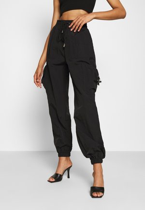 POCKET DETAIL TROUSERS - Cargohose - black