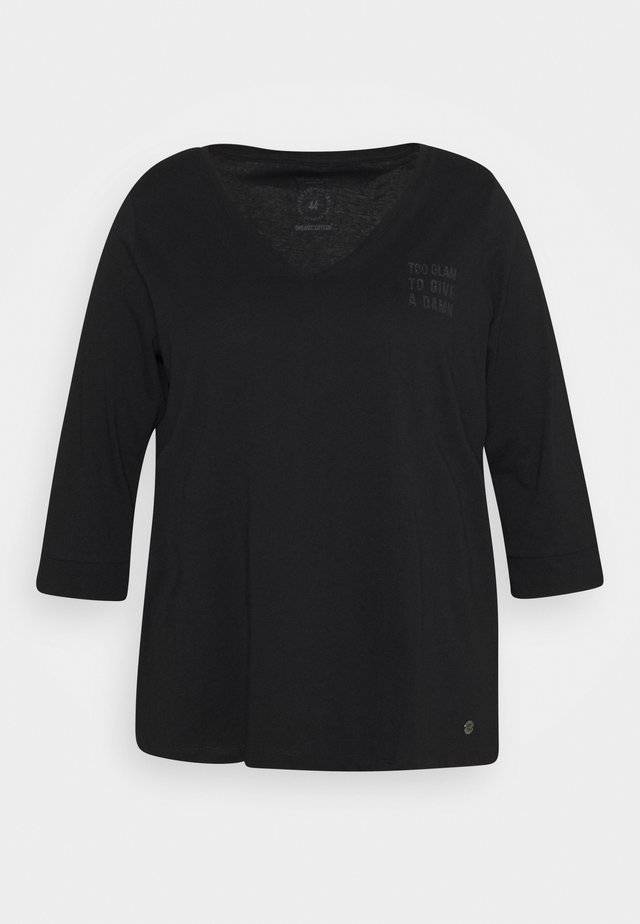 WITH VNECK - Long sleeved top - deep black
