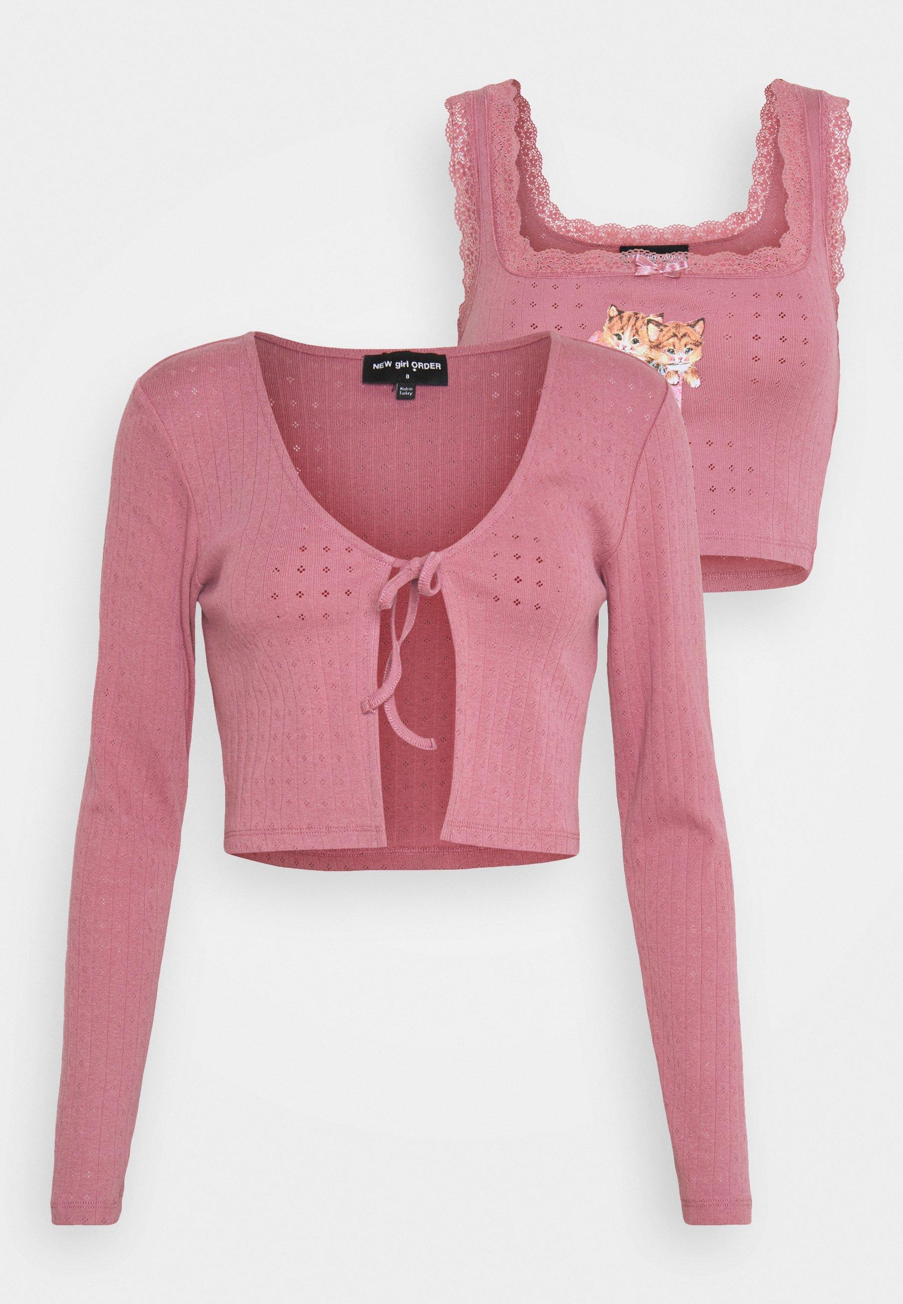 Women KITTEN LACE CAMI & TIE CARDIGAN SET - Long sleeved top