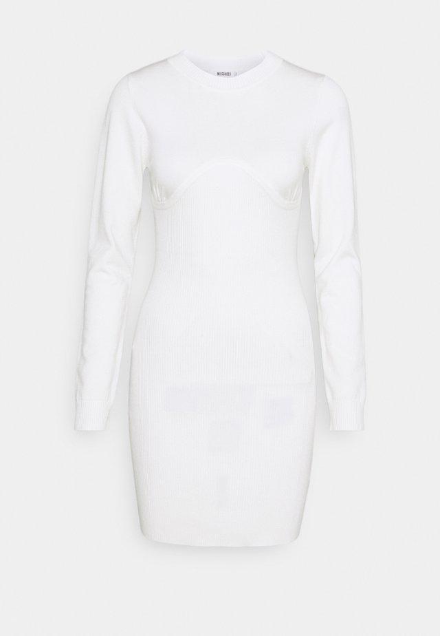 SEAMED HIGH NECK  - Etuikleid - white