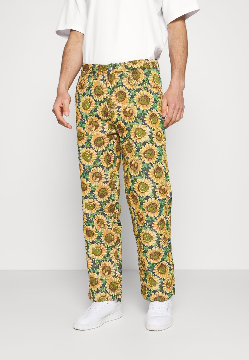 Jaded London - SUNFLOWER TAPESTRY WOVEN SKATE - Trousers - green/yellow