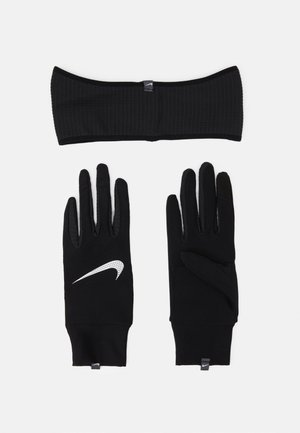 WOMENS ESSENTIAL RUNNING HEADBAND AND GLOVE SET - Sormikkaat - black/silver