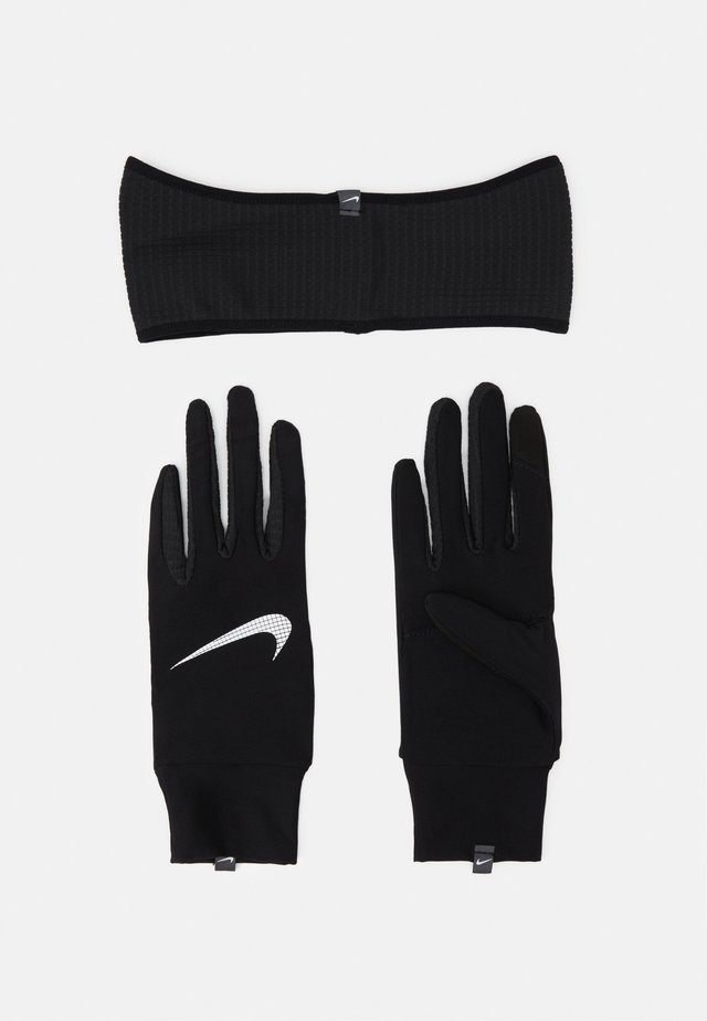 WOMENS ESSENTIAL RUNNING HEADBAND AND GLOVE SET - Gants - black/silver