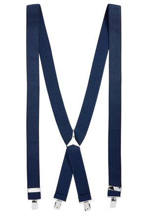 BLACK WIDE HERRINGBONE BRACES - Cintura - blue