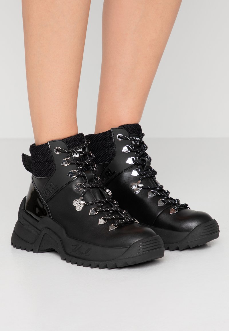 KARL LAGERFELD - QUEST CROSS LACE MID - Lace-up ankle boots - black