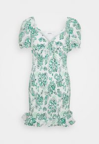 SMOCKED MINI DRESS WITH PUFF SHORT SLEEVES - Day dress - green