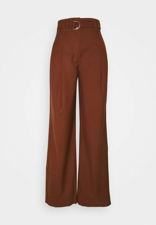 STRETCH SUITING TIE WAIST PANTS - Trousers - maple