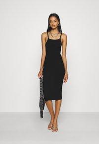 Missguided - SQUARE NECK MIDI DRESS - Day dress - black - 1