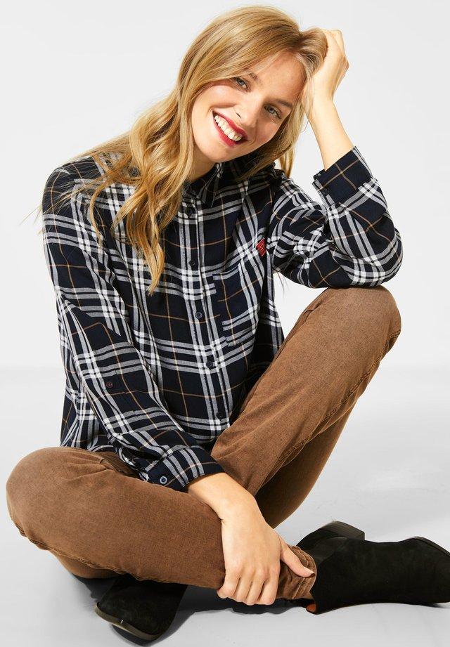 KARO - Button-down blouse - blau