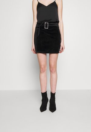 JEWEL BUCKLE BELT - Mini skirt - black